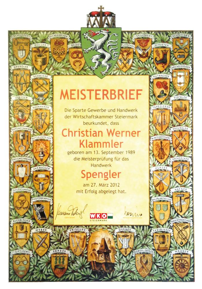 Meisterbrief Christian Werner Klammler