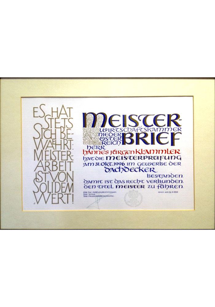 Meisterbrief Hannes Jürgen Klammler