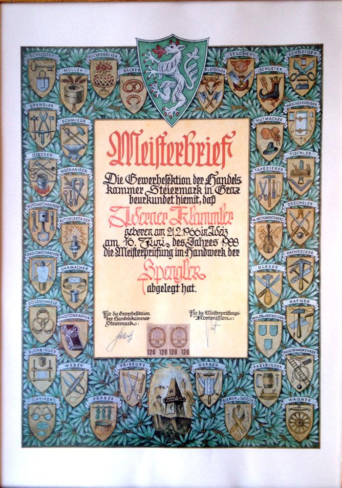 Meisterbrief Werner Klammler