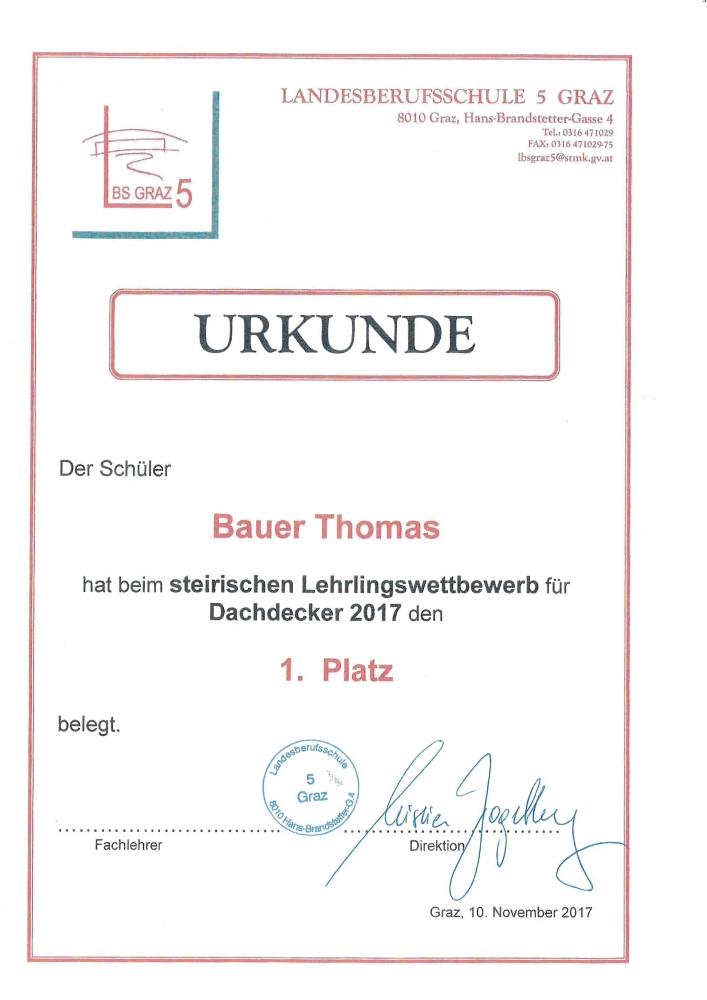 Auszeichnung Lehrlingswettbewerb Bauer Thomas