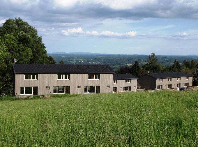 Drei Häuser mit neuen Dächern