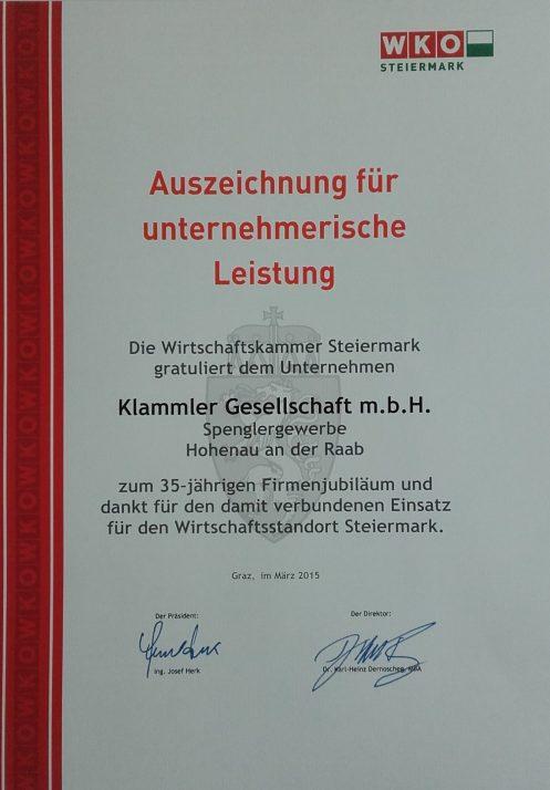 Auszeichnung für unternehmerische Leistung der WKO für Klammler Dachdeckerei und Spenglerei